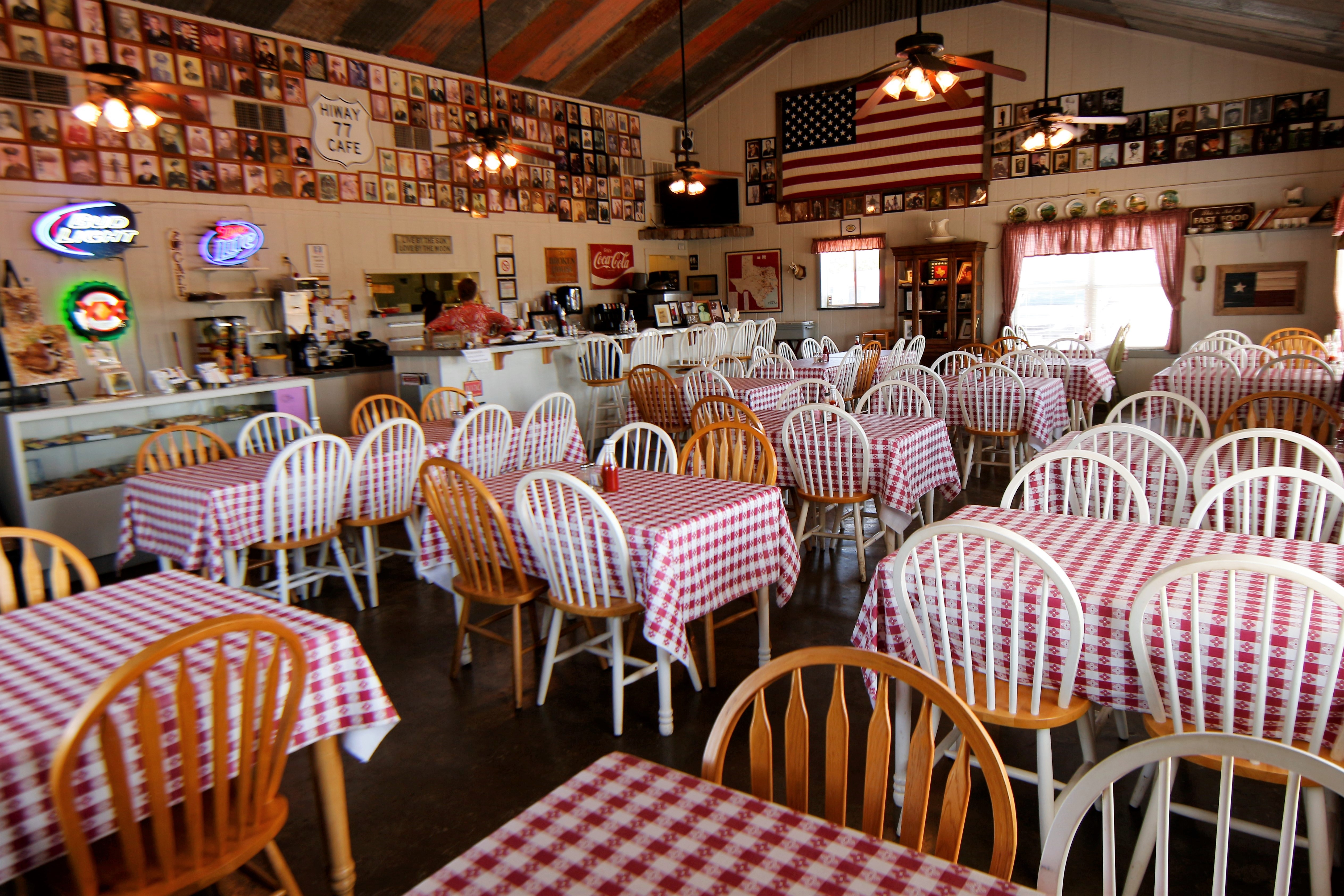 Interior of Cafe on Hwy 77 in Texas