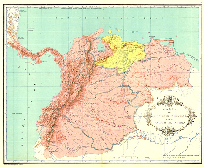 Virreinatio de Santa Fe (pink) and Capitania de Venezuela (yellow) Courtesy Wikipedia.com