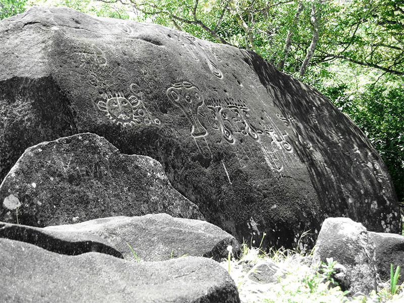 Weathered petroglyphs