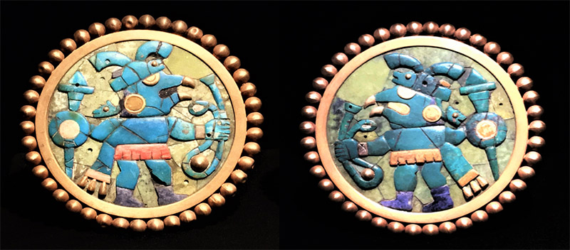 Moche Gold and Turquoise Earspools – Museo Rafael Larco Herrera