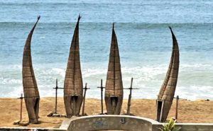 Totora reed rafts drying on beach